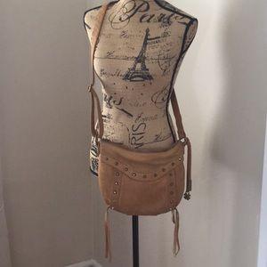Lucky Brand tan leather fringe crossbody purse